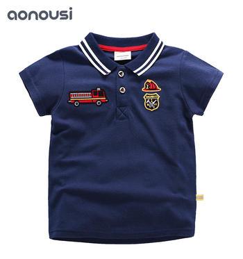 Summer 2019 New Boys Short Sleeve T-shirt Turn-collar Kids Suit Pure Cotton Children's Clothing