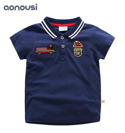 Summer 2019 New Boys Short Sleeve T-shirt Turn-collar Kids Suit Pure Cotton Children's Clothing