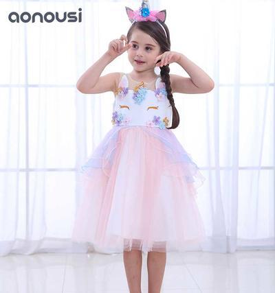 Unicorn Baby Girl Party Dresses/Children's Evening Dresses Unicorn Birthday Party Dresses