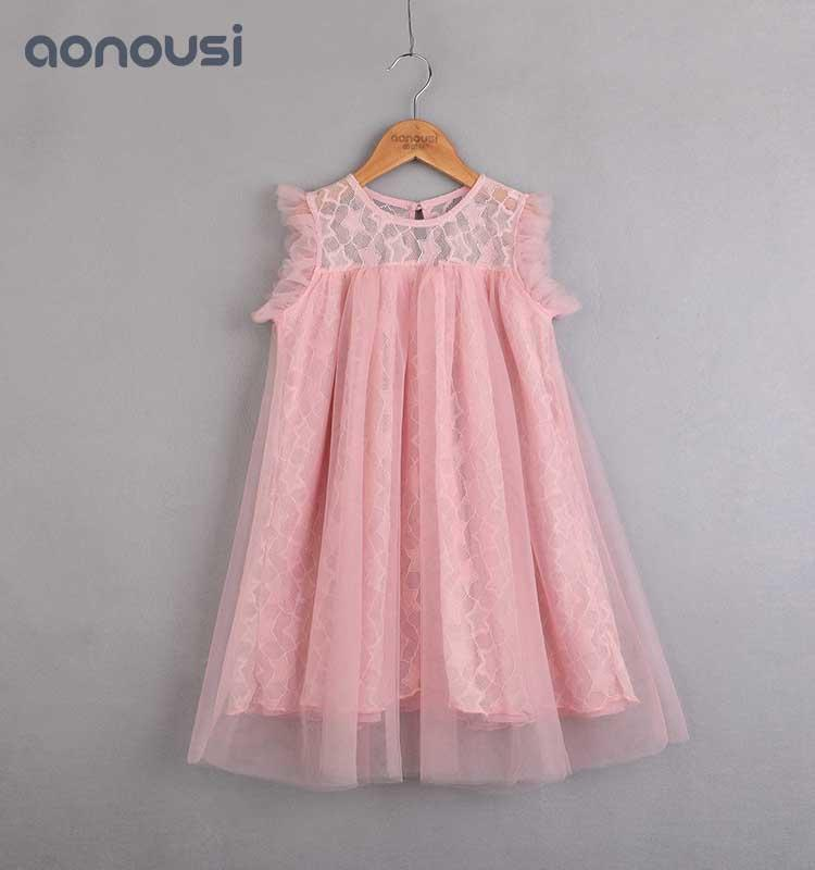 2019 Summer Little Kids Girls Lace Dress Sleeveless Skirt Pink Princess Dress fashion kids clothing korean style little girl fashion clothes