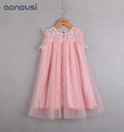 2019 Summer Little Kids Girls Lace Dress Sleeveless Skirt Pink Princess Dress fashion kids clothing korean style little girl fashion clothes