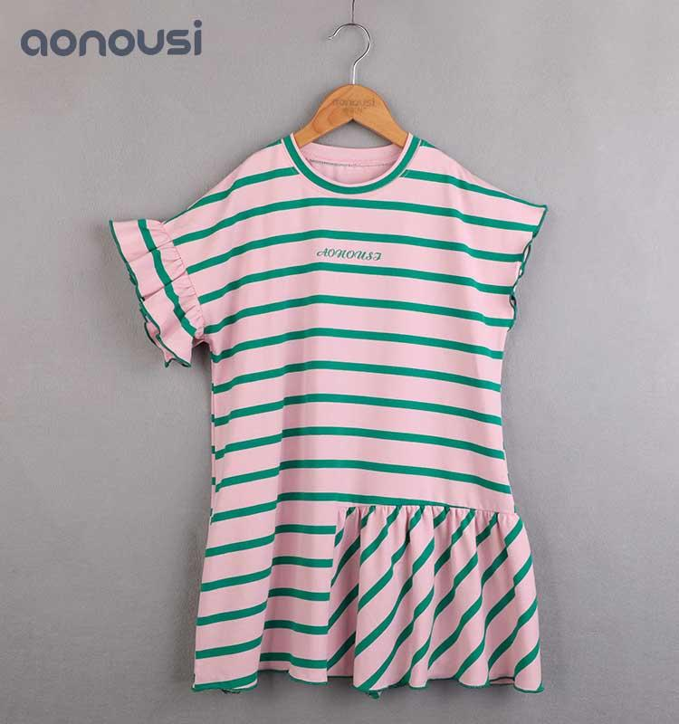 Factory Price trendy baby girl clothes Cotton Stripe Short Sleeve Skirt kids brand clothes