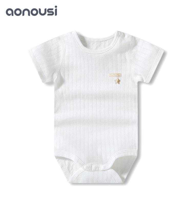 Short-sleeved crawling sets of 0-3 years old with thin single-sided jacquard baby's dress clothes butt-padded suit in summer of 2019
