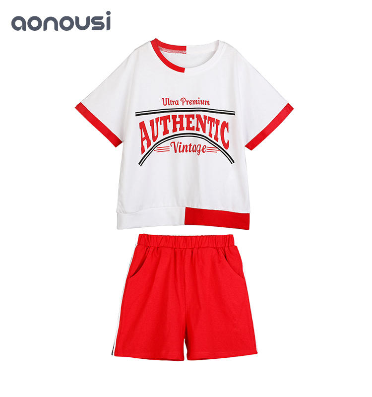High Quality Cotton Summer Korean Fashionable Child 2 piece Girls Sets Set custom kids clothing