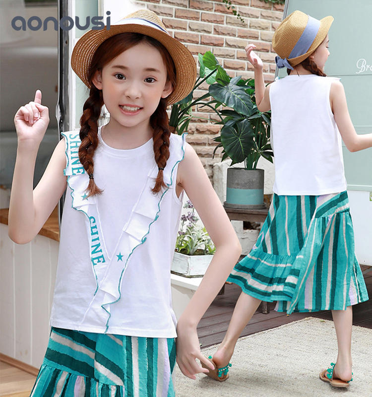 High Quality Clothes Summer Korean Sleeveless little Girls Clothing Sets Two-Piece Kids Suit Children's