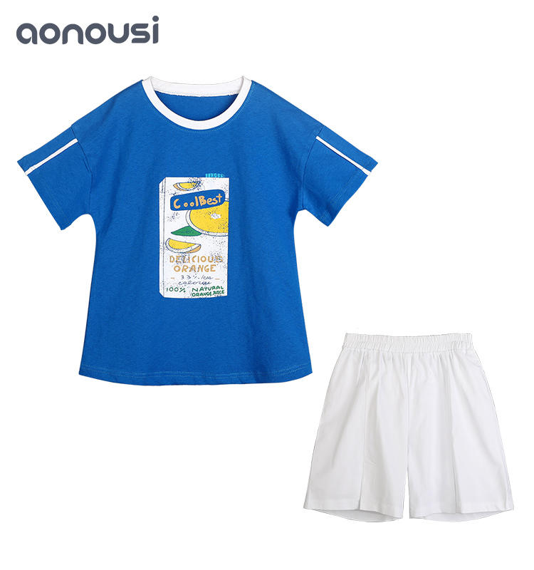 New Design Blue Color Cotton Korean-Style Girls Children's Suits Summer Girls Sets