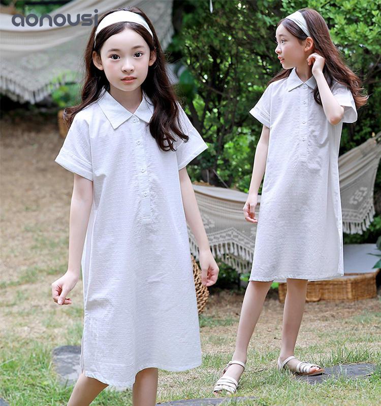 Hot-Selling girls boutique clothing Summer Cotton Sleeveless Collared Fresh White Skirt For Children