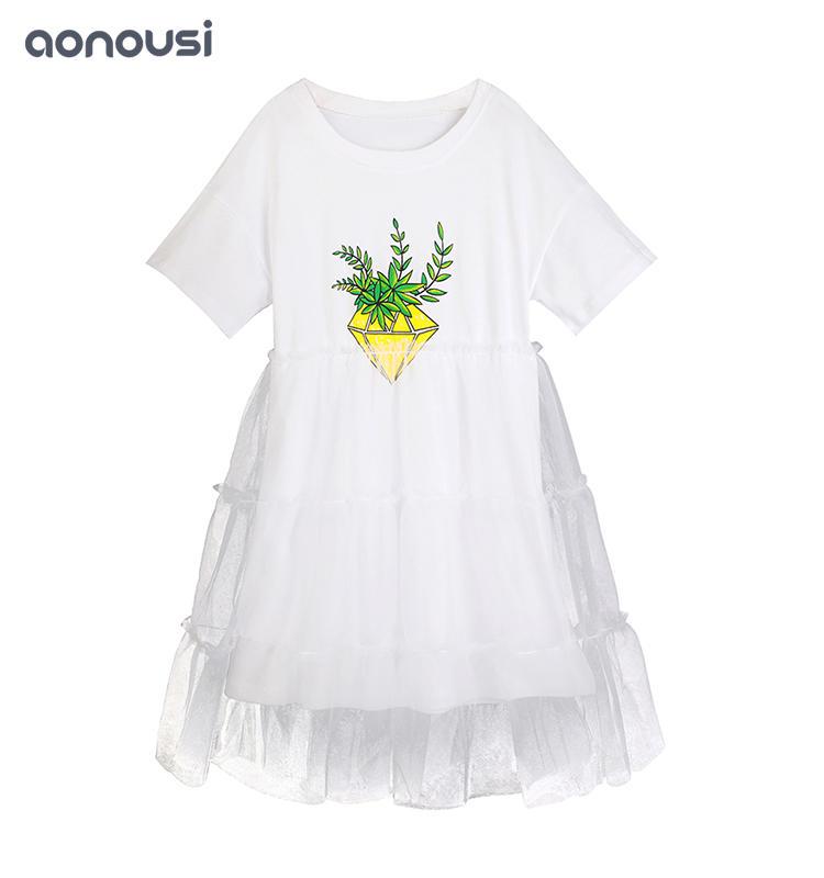New Design Kid Girl'S dress Summer Cotton And Yarn White Casual Skirt