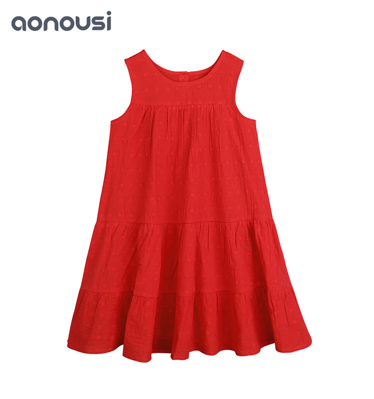 Summer Red Skirt Children's Fashion Cotton Skirt Children's Newest Design Skirt Wholesale little girls