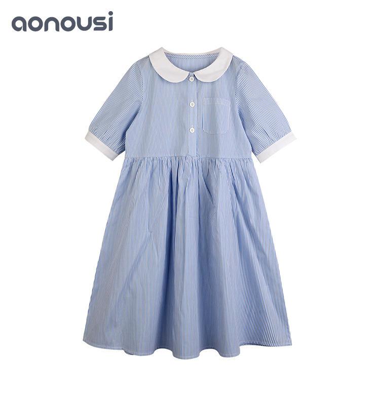 Children Doll Collar Princess Dress Girl Striped Soft Cotton Dress baby girl