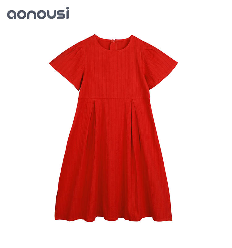 summer kids dress High-Quality Summer Girl's Knee-Length Red Cotton Skirt