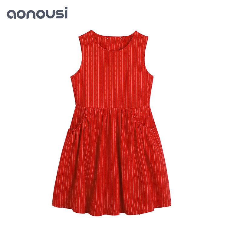 Children Comfortable Red Princess Dress Girl cloth Soft Cotton Dress