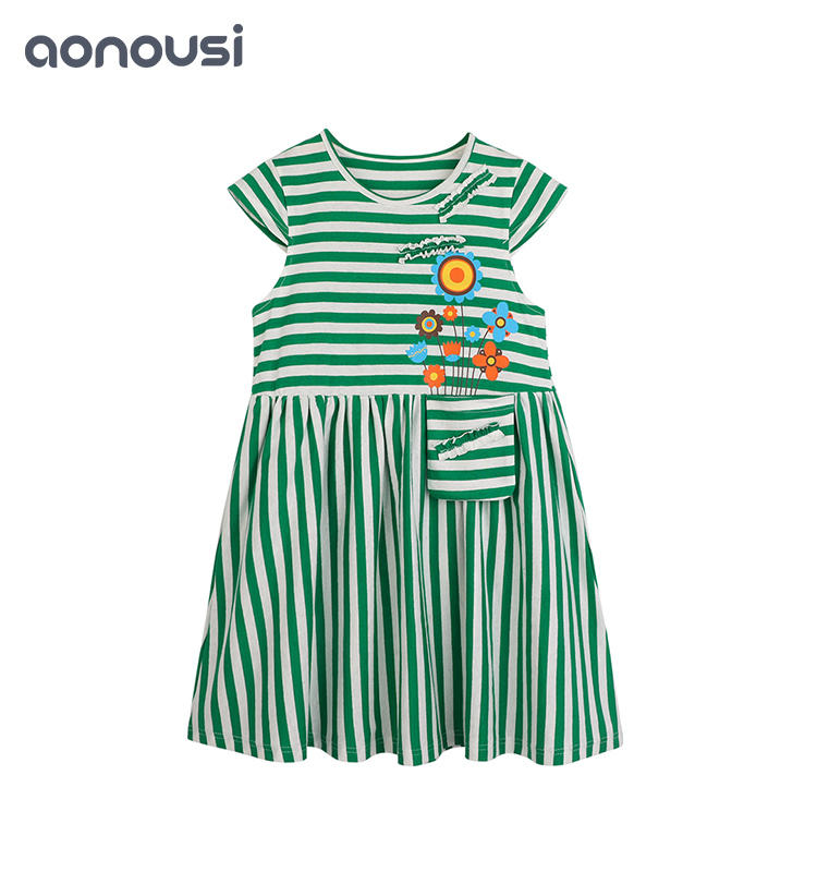 Korean version summer new children's clothes pure cotton girl's skirt striped cotton cute dress children latest dress style