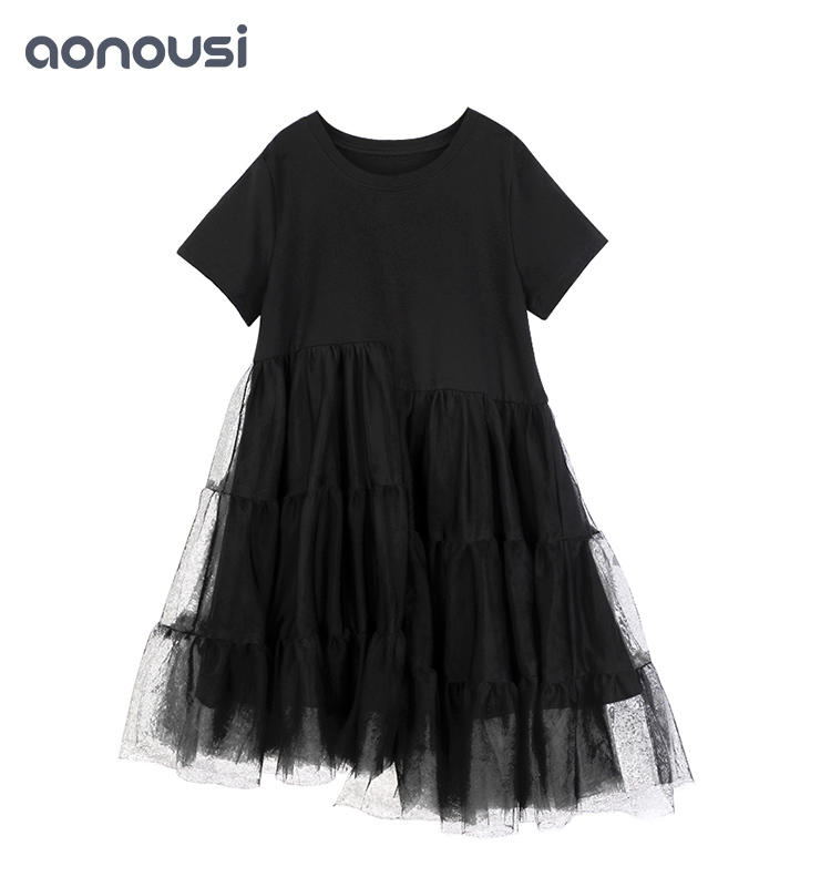 Black Lace Girl Summer Short-sleeved Skirt&dresses