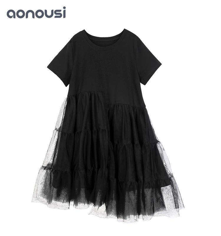 Black Lace Girl Summer Short-sleeved Skirt&dresses