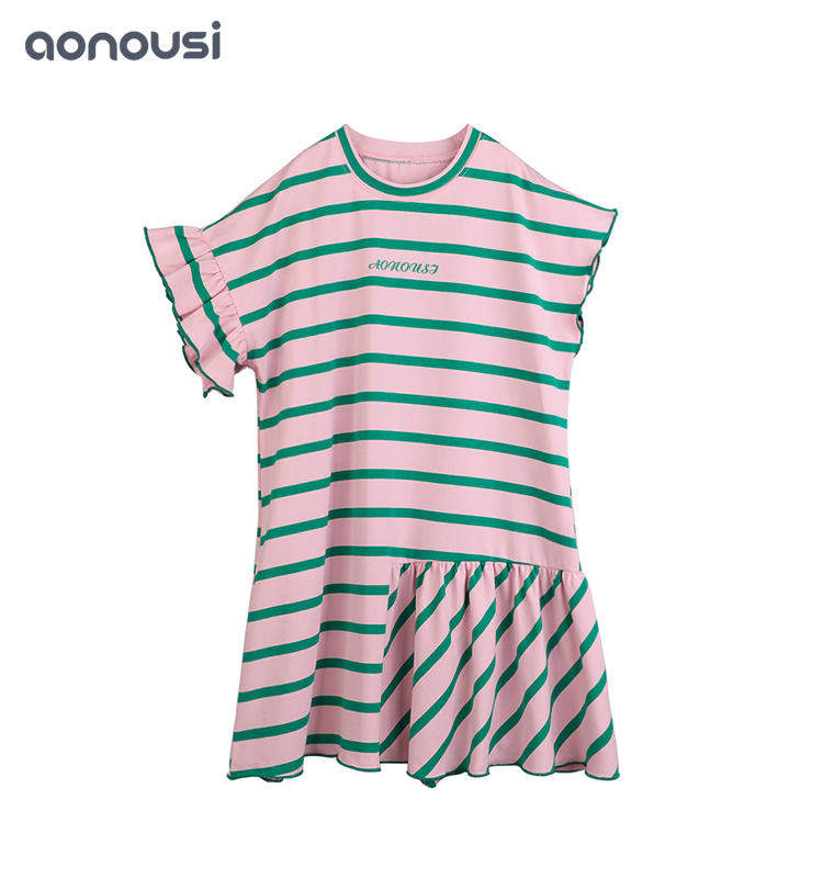 Factory Price Girl Cotton Stripe Short Sleeve Skirt kids brand clothes dress