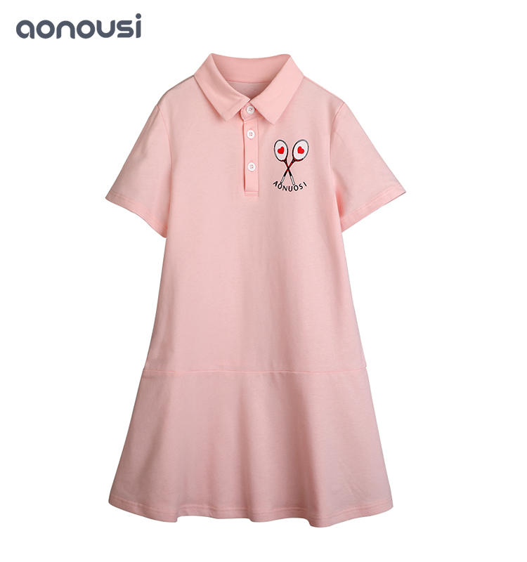 Hot-Selling Summer Cute Pink Sports Tennis Kid Girl Lapel Skirt kids brand clothes