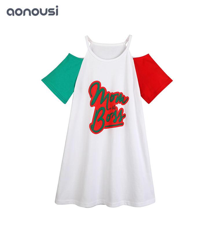 Hot-Selling Sleeveless skirt Girl's Casual Shoulder-Bare Skirt girls boutique clothing