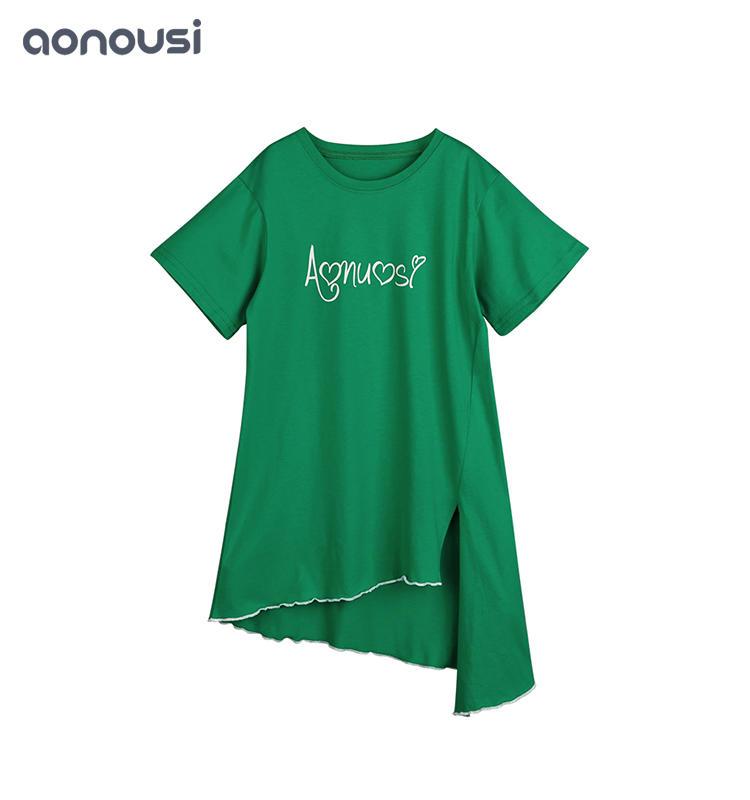High Quality Girls clothes Summer Short Sleeve Green Leisure Skirt