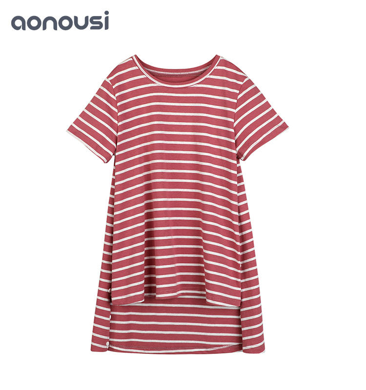 girls clothing wholesale  kids t shirts Popular Fashionable Cotton Leisure Style Girls Pink Stripes T-Shirt childrens cotton t shirts