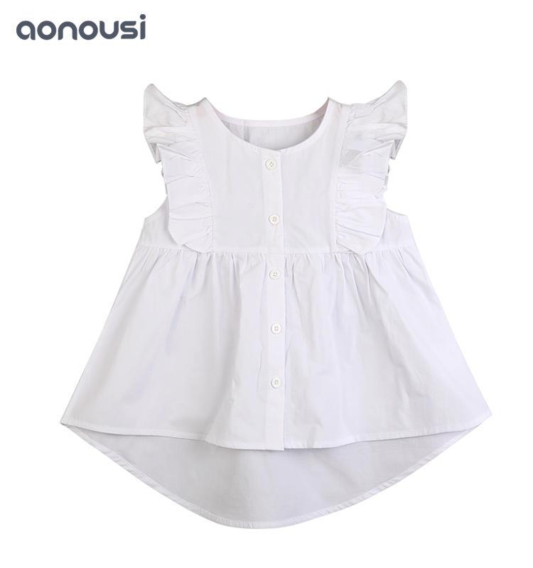 Little Girl Summer T-shirt White Cotton Fashion Clothes wholesale children's boutique clothing