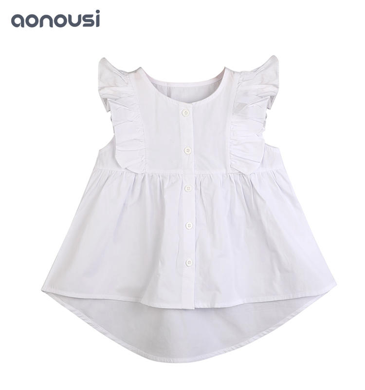 Little Girl Summer T-shirt White Cotton Fashion Clothes wholesale children's boutique clothing