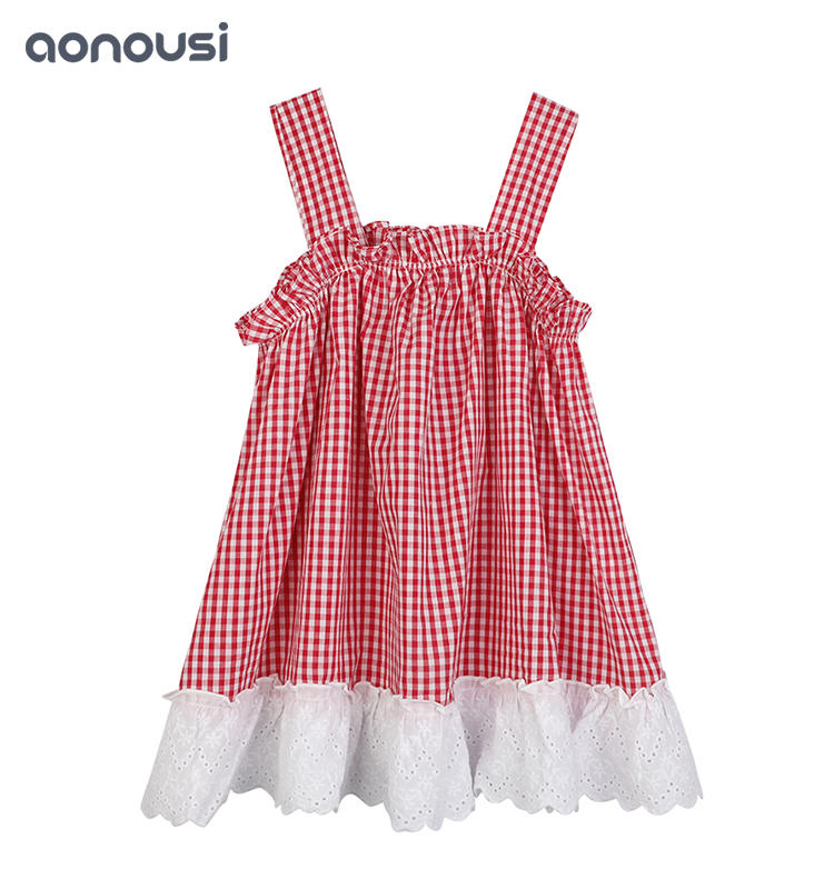 cotton t shirts for girls High Quality Cotton Kid Girl Leisure Style Red Checked Sling T-Shirt