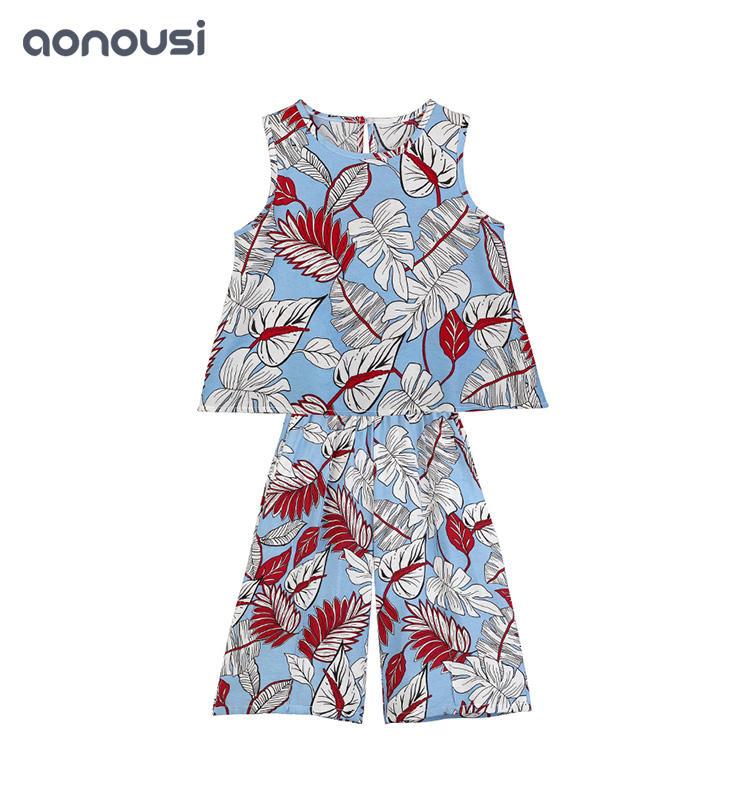 New Design Summer Flower Sleeveless Girl Summer Korean Suit trendy kids clothing children's boutique clothing wholesale
