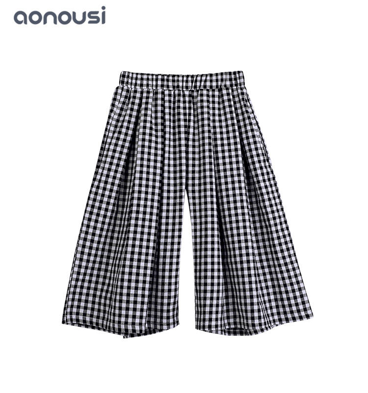 Wholesale girls clothes wide-legged pants new design dress pants with lattice pattern for girls
