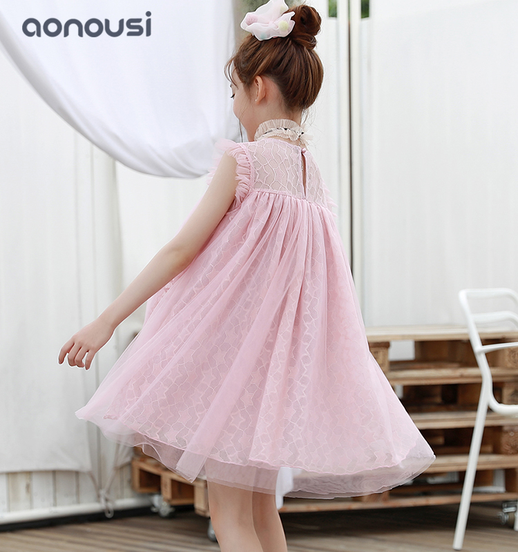 news-Wholesale girls clothes summer pink princess dresses casual fashion loose lace dresses girls s
