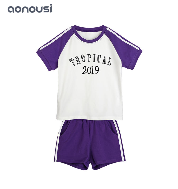 High-quality wholesale girls clothes Simple and comfortable purple suit for children