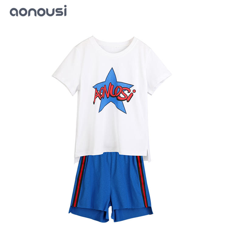 wholesale girls fashion clothes star printing and letter short T-shirt and shorts Summer comfortable sets