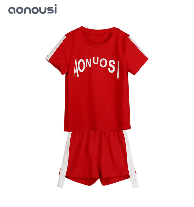 wholesale girls clothing suppliers  high quality 100% cotton red sports suits and casual set