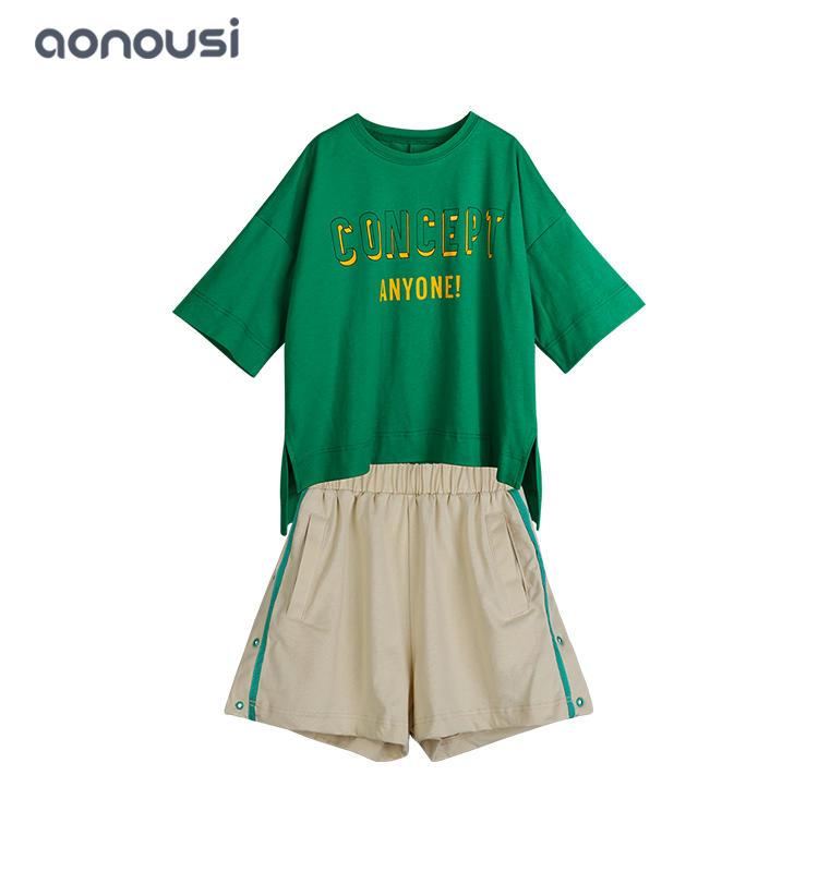 Summer new design Korean version of children 100% cotton sporting sets wholesale girls wear
