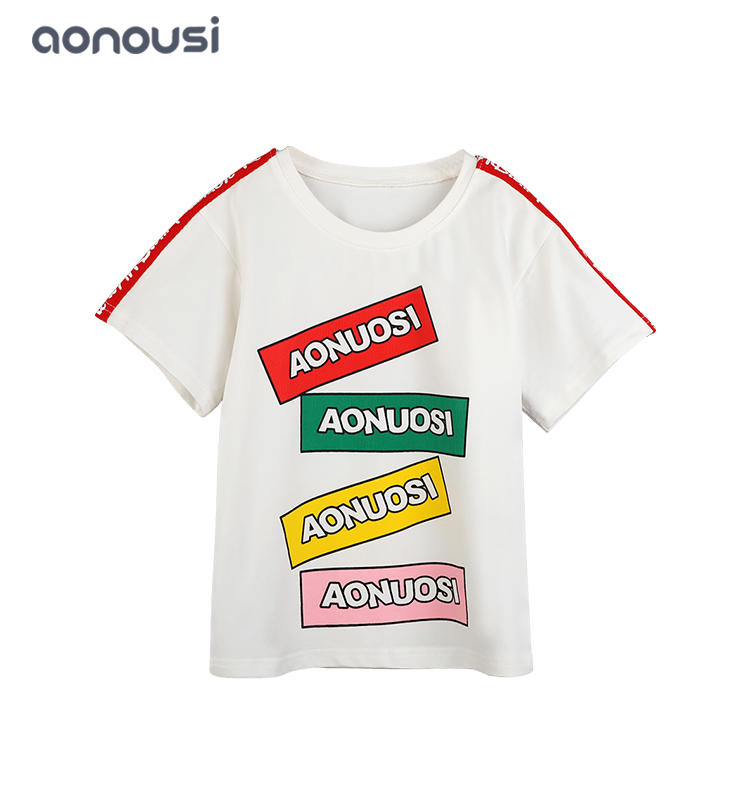 High quality colorful letter cards white short sleeves T-shirt for girl summer sporting sets wholesale girls t shirts