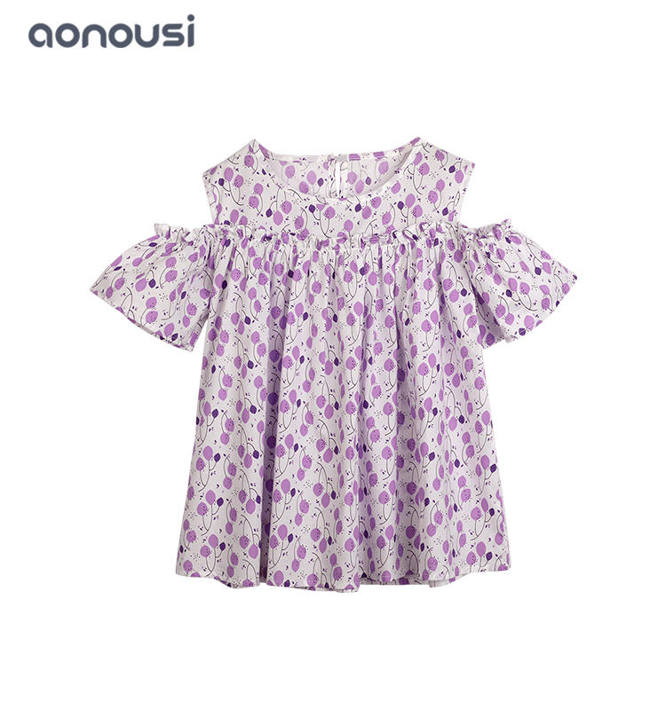 wholesale girls clothing china 2019 New design purple shirt 100% cotton shirt for girls leisure short  sleeves floral shirt