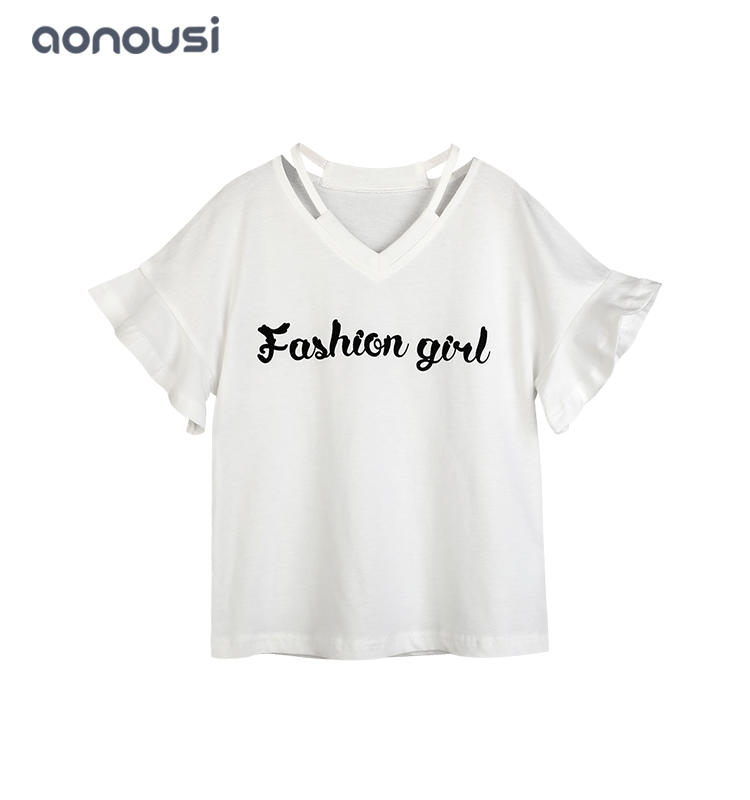 Wholesale girls clothing suppliers fashion girl letter pattern shirt white cotton T-shirt for girl