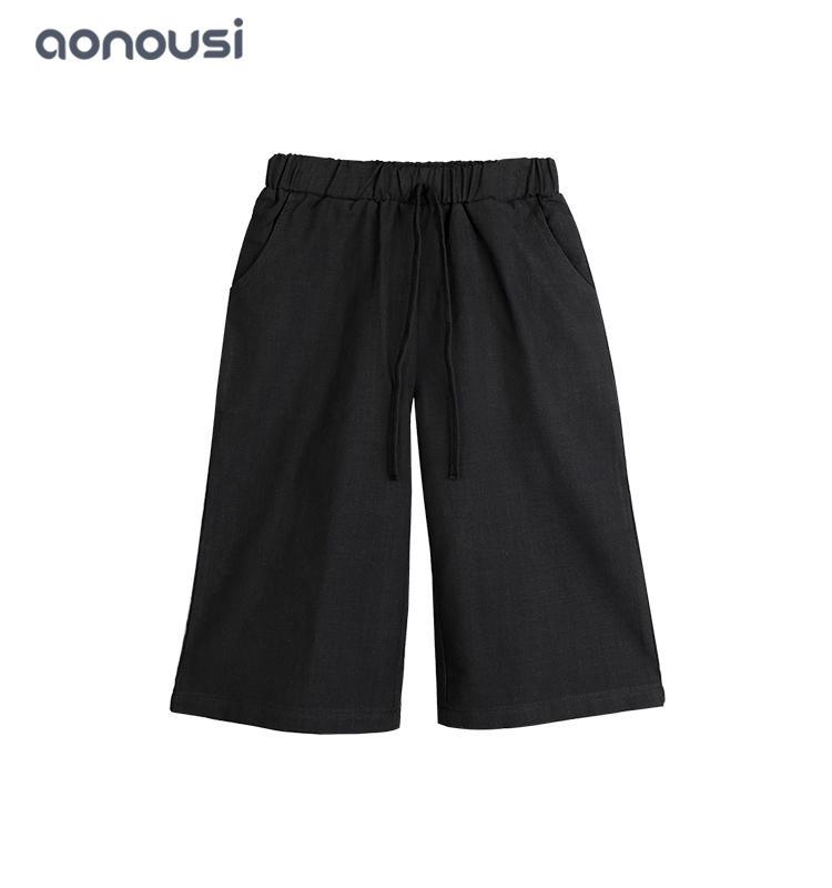 Wholesale girls new fashion pants girls trousers loose pants black casual wide leg pant