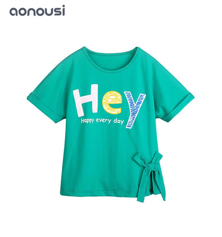 Designer Kids Clothes Wholesale girls Summer Fashion Brand Children's Wear green t shirt