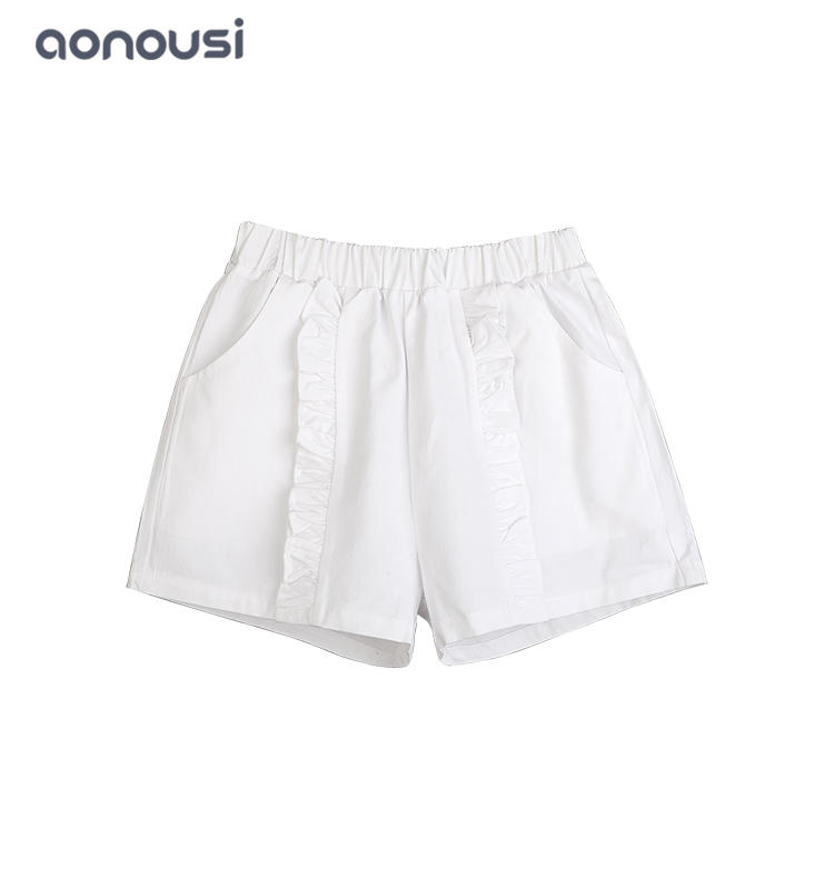 2019 New design white summer shorts for girls comfortable 100% cotton wholesale girls shorts