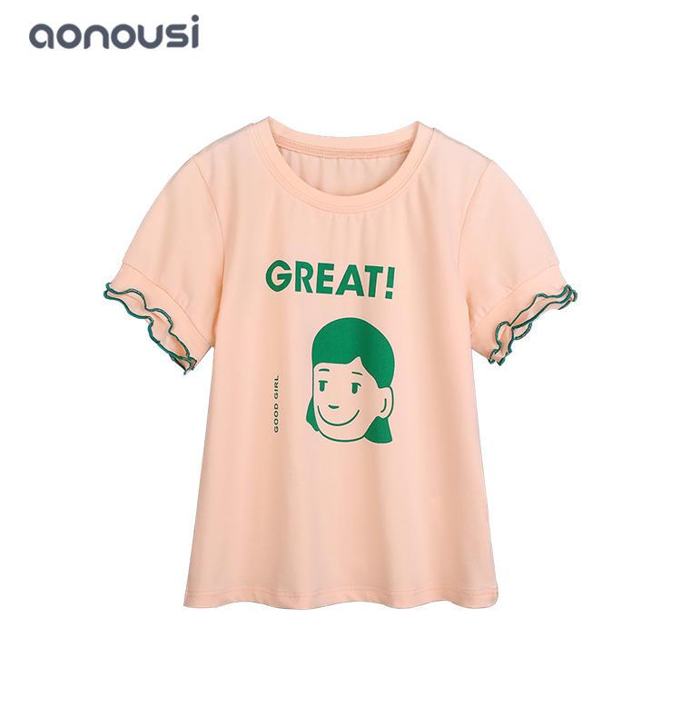 Girls new design t shirt with girl cartoon pattern summer cotton wholesale girls shirt