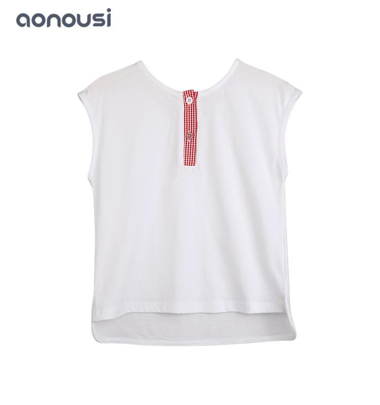 Girls wholesale clothing supplier children wear summer girl sleeveless shirt Round collar fashion t shirt for girls