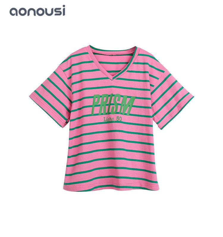 kids designer Summer girl t shirt clothes v neck pink short sleeves shirt wholesale girls wear