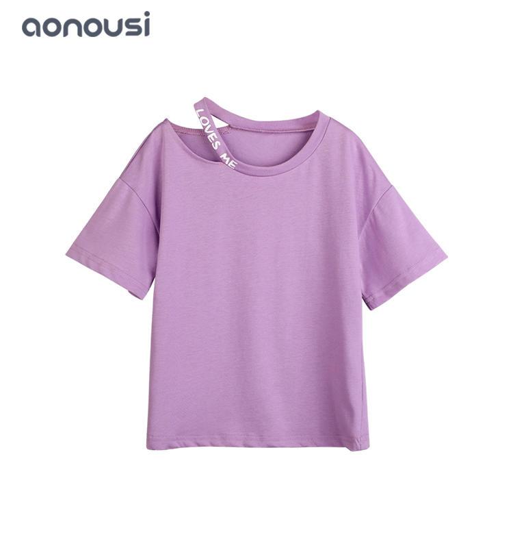 kids clothing purple girls summer t shirt wholesale girls clothing suppliers fashion t shirt cool style