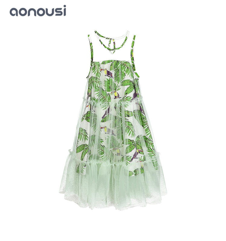 Designer girls dresses princess outfits sleeveless fresh style children with lace dress wholesale girls fashion clothes