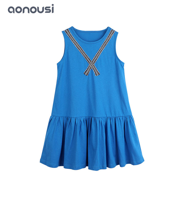 Hot sale girls dress pure cotton blue dress Boutique Kids Clothing girls fashion wholesale