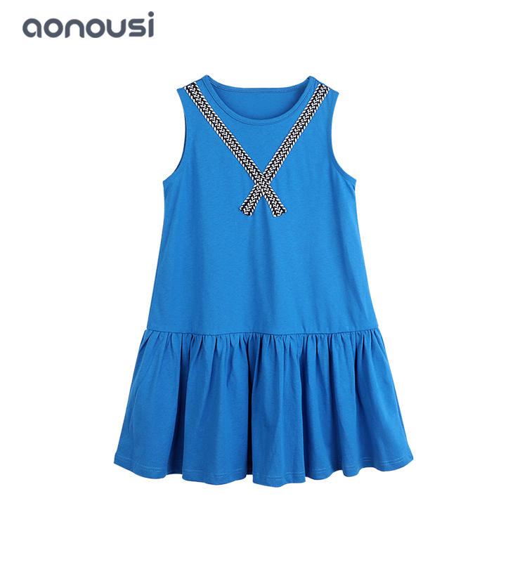 Hot sale girls dress pure cotton blue dress Boutique Kids Clothing girls fashion wholesale