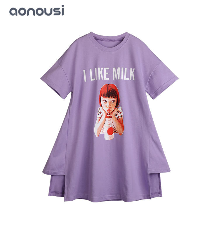 Girl's dress 2019 summer new princess dress Korean version of long T-shirt dress wholesale girls wear
