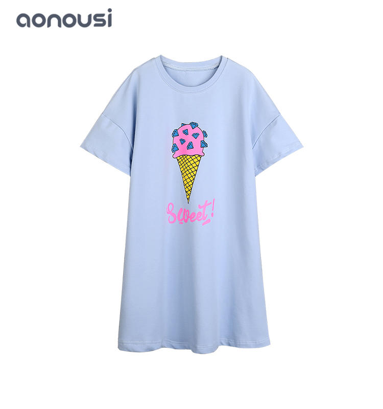 2019 summer children clothing girls fashion wholesale cartoon printing dresses big kid t shirt dresses