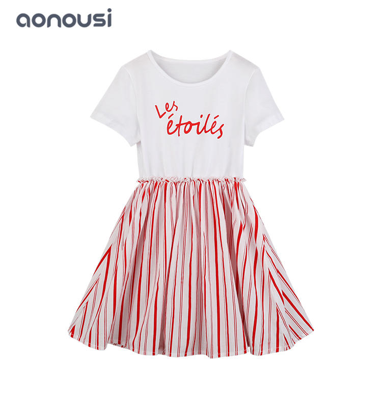Girls Summer Dress white t shirt and red Vertical stripes skirt one piece wholesale girls dresses